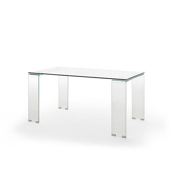 mesa rectangular cristal fija