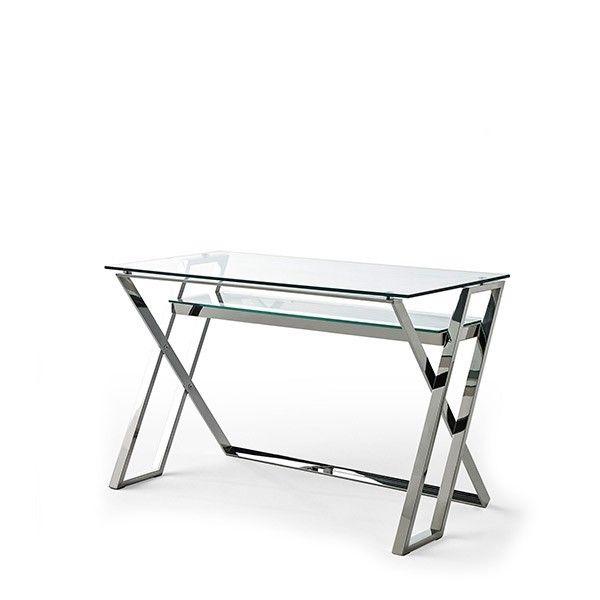 mesa escritorio moderna cristal acero inox Norton