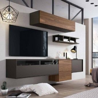 composicion de salon moderno en muebles lara